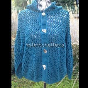 MIKKA crochet knit sweater mother of pearl buttons